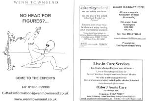 Concert programme example advert pages